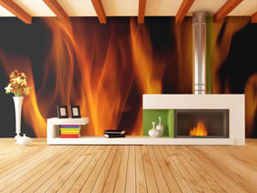 bright empty modern interior with minimalist fireplace - rendering