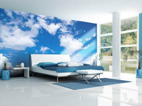 contemporary blue bedroom