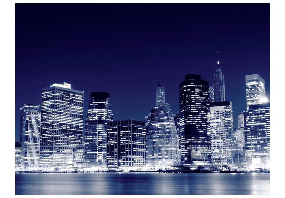 Fotomurale lo skyline di manhattan di notte new york for Stanze in affitto new york manhattan